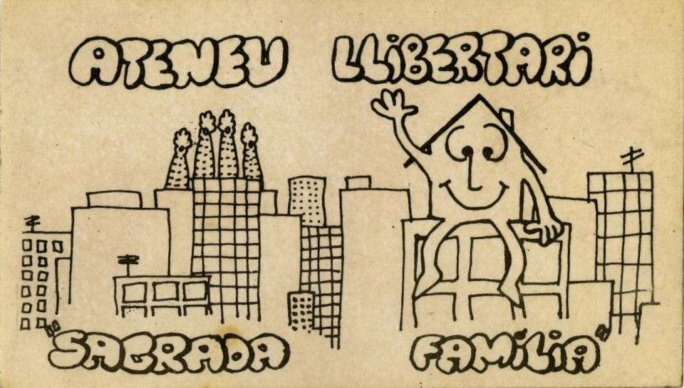 This sticker displays the a sketch of the skyline of Barcelona where the Sagrada Familia is located. The sagrada Familia is the building on the left with the four pointed cones coming out from it. On the left is a house with a smiling face sitting ontop of another building and waving with his right hand.