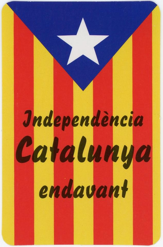 Yellow and red striped flag that has a white star inside a blue triangle on the top. Text over the flag reads Catalonia independence ahead.