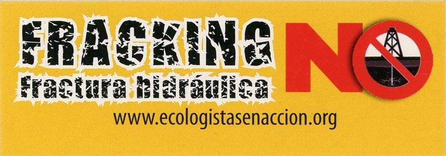 Yellow sticker with large red letters stating the word NO. Inside of the O is an image of a fracking site with a red line going through it.
