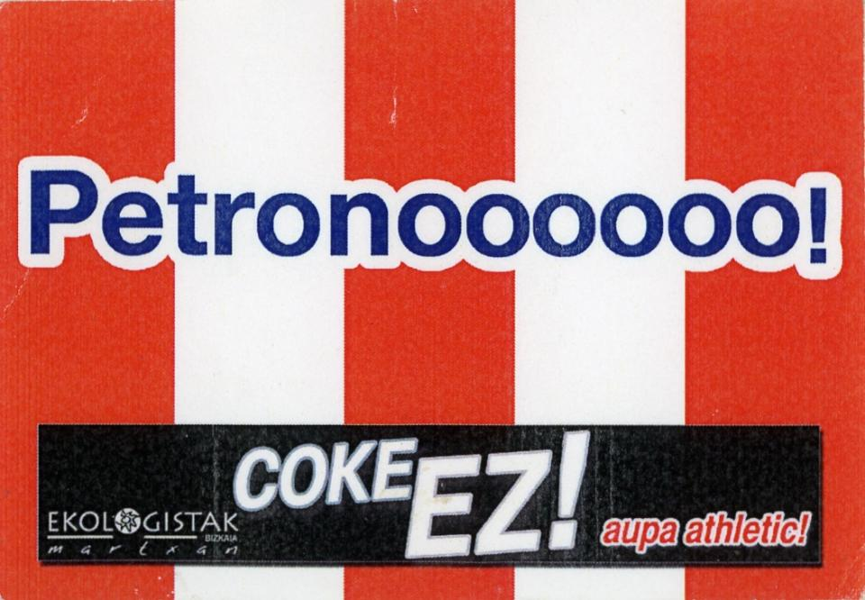 A sticker with a vertically striped red and white background. The text spans across the width of the sticker in blue coloring.