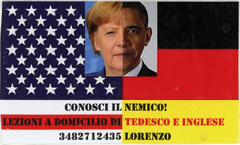 Angela Merkel and Barack Obama with American and German flags