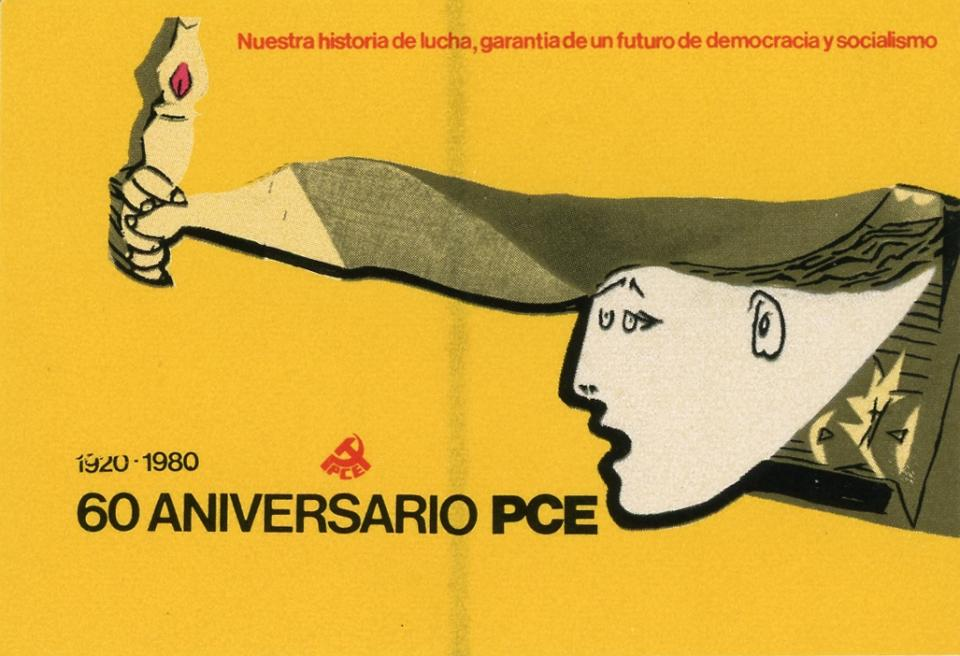 This is a yellow sticker with the black and white image the woman from Picasso's painting, Guernica. The woman has a lit torch and is extending it forward with her right arm. This sticker was propaganda for the Communist Party of Spain in 1980.