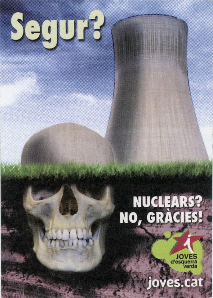 The sticker shows a giant skull that is disguised as part of a nuclear power plant. The image is split into two halves, the top being the above ground view that can easily be recognized as a power plant, and the bottom half being the below ground more abstract view of the reality of nuclear power. It was created by Joves d'esquerra verda, an environmental organization that focuses on the betterment of Cataluña.