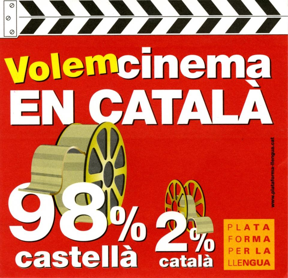 The whole sticker is in the theme of a clapperboard, black and white stripes on top and red on the bottom. There are two film reels, the first one larger representing that 98% of movies in Catalonia are played in the language of Castilian. The second reel is much smaller representing the 2% of movies that are played in their own language, Catalan.