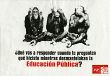 """Image of """"the three wise monkeys"""" in black in white with the text below them and the JSP logo in the bottom right hand corner."""