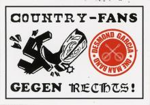 A cowboy boot kicking a swastika on the left. A red circle to the right highlighting banjos and Desmond Garcia's name.