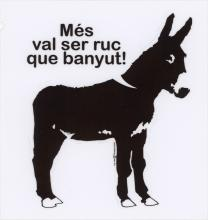 A large donkey pictured in black and white with the text above his back.