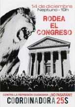 A giant lion towers over the congress building with its mouth open.