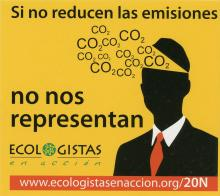 This sticker shows a man in a black suit with a red tie. There is a triangle cut out of his head that has the words CO2 coming out of it. It was created by the organization Ecologistas En Acción, an environmental advocacy organization made up of 300 Spanish ecological groups. They take a social environmental approach to counter degredation in Spain, a country that has been evironmentally exploited by the policies of neo-liberal politicians.  At the bottom of the sticker is a link to an article from their we
