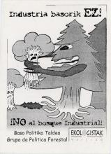 "The sticker shows in black and white a giant pine tree with his arms (branches) reached out grabbing a smaller tree who appears scared. In the background there is another small tree looking up in terror and crying. The text on the sticker advocates for an end to an ""industrial forest"" or in other words the logging industry."