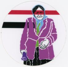 Female Figure in Purple Jacket