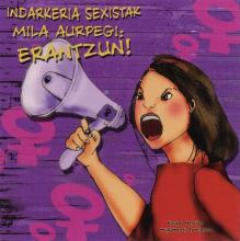 A purple sticker with pink venus symbols. A woman with a loudspeaker is pictured in the middle.