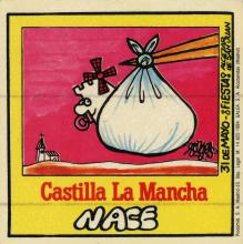 A sticker of a cartoon of a baby castle wrapped in a bag, being dropped off by the beak of a stork in front of a church.