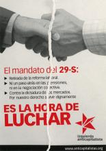 The hands of two men in collared shirts shaking hands. Below in red and black text the Left Anticapitalist party advertises a general strike on the 29th of September, 2010.
