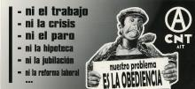 """A black and white sticker of a man in overalls chained down by a sign saying, """"our problem is obedience."""""""