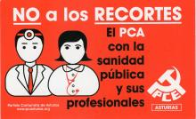 This sticker depicts both a male and female doctor on the left. On the right is the symbol for the Communist Party of Spain. This sticker was released by the Communist Party branch in Asturias.